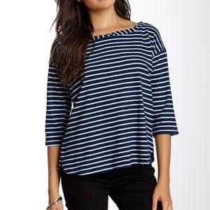 Splendid Blue Stripe Boat Neck Tee 100% Cotton S